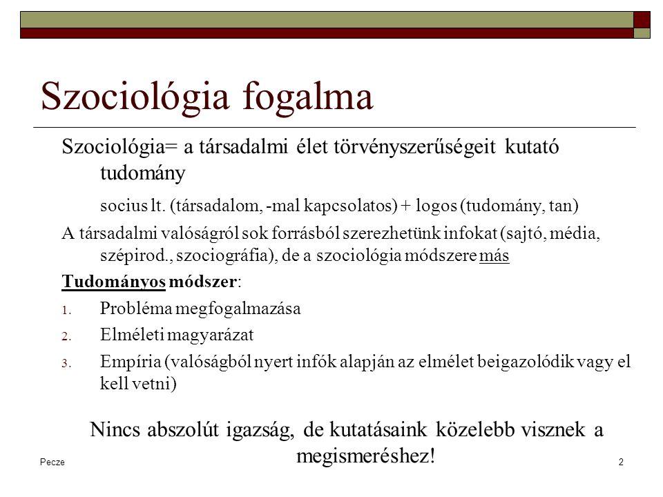 Szociológia fogalma Szociológia= a társadalmi élet törvényszerűségeit kutató tudomány.