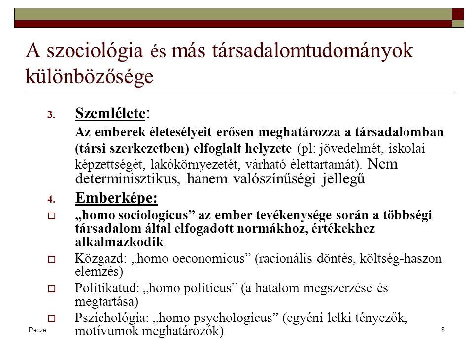 A szociológia és más társadalomtudományok különbözősége