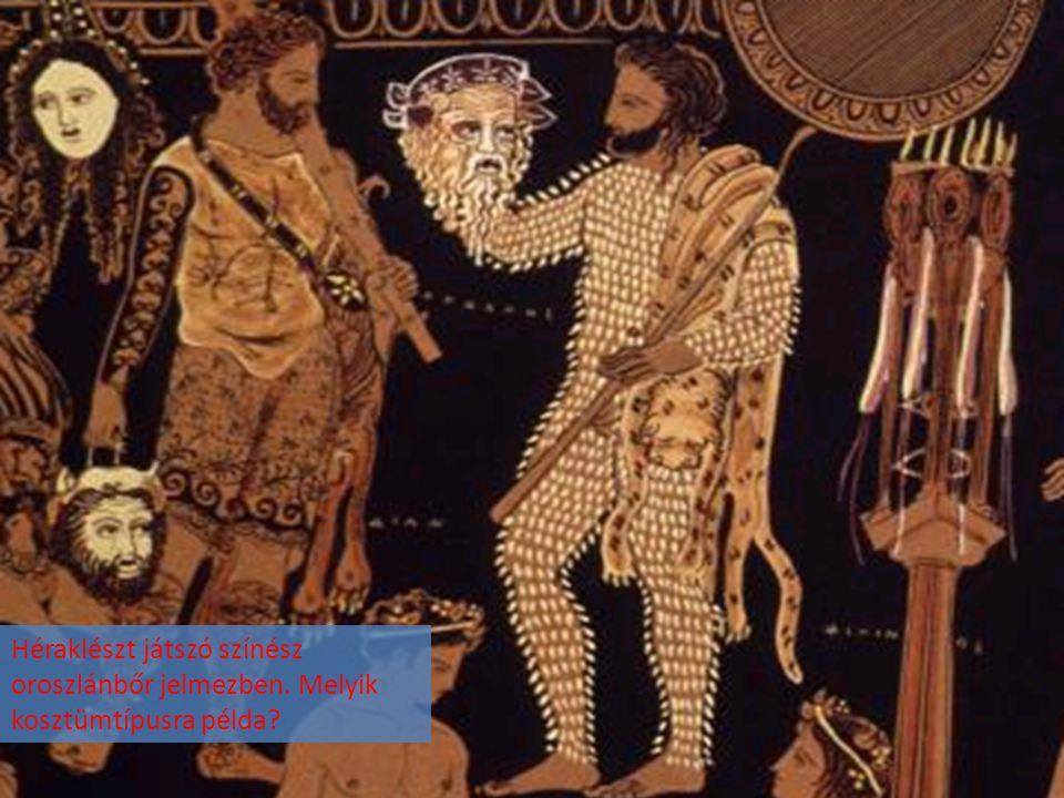 Héraklészt játszó színész oroszlánbőr jelmezben
