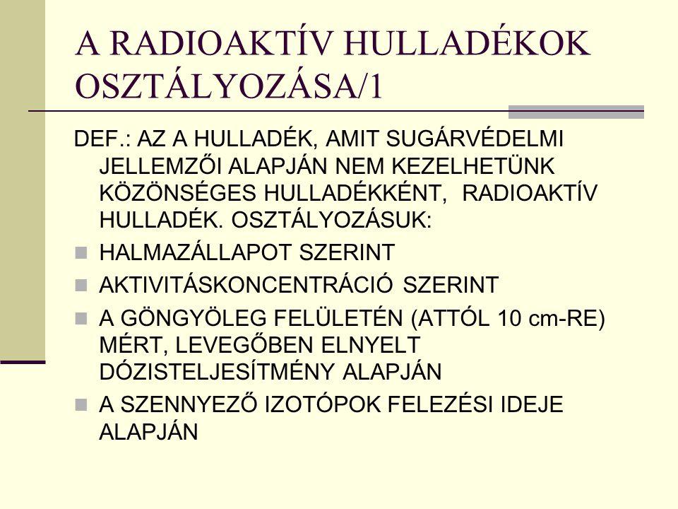 A RADIOAKTÍV HULLADÉKOK OSZTÁLYOZÁSA/1