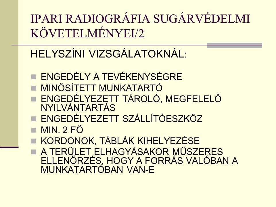 IPARI RADIOGRÁFIA SUGÁRVÉDELMI KÖVETELMÉNYEI/2