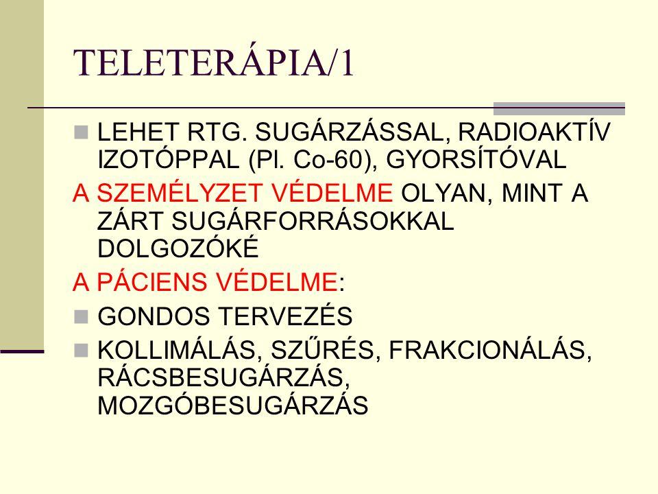 TELETERÁPIA/1 LEHET RTG. SUGÁRZÁSSAL, RADIOAKTÍV IZOTÓPPAL (Pl. Co-60), GYORSÍTÓVAL.