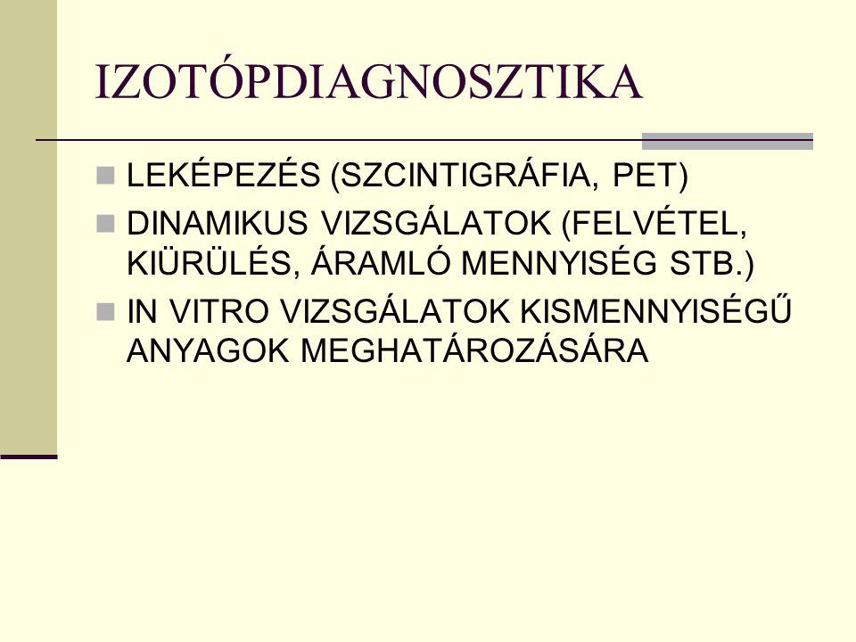IZOTÓPDIAGNOSZTIKA LEKÉPEZÉS (SZCINTIGRÁFIA, PET)