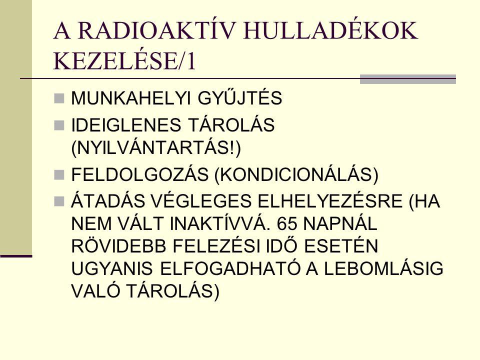 A RADIOAKTÍV HULLADÉKOK KEZELÉSE/1
