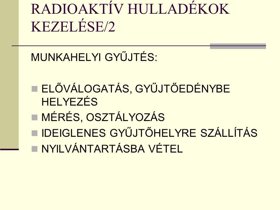 RADIOAKTÍV HULLADÉKOK KEZELÉSE/2