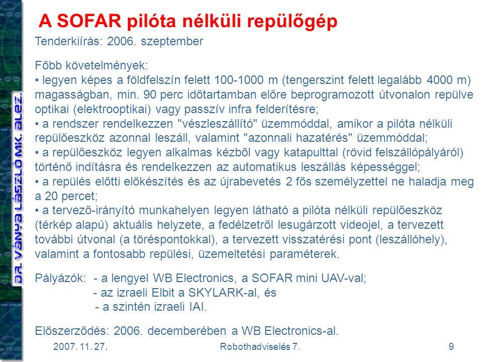 A SOFAR pilóta nélküli repülőgép