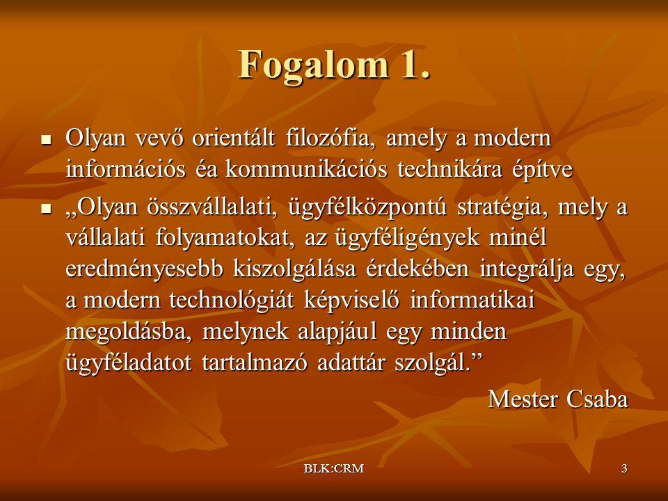 Fogalom 1. Olyan vevő orientált filozófia, amely a modern információs éa kommunikációs technikára építve.