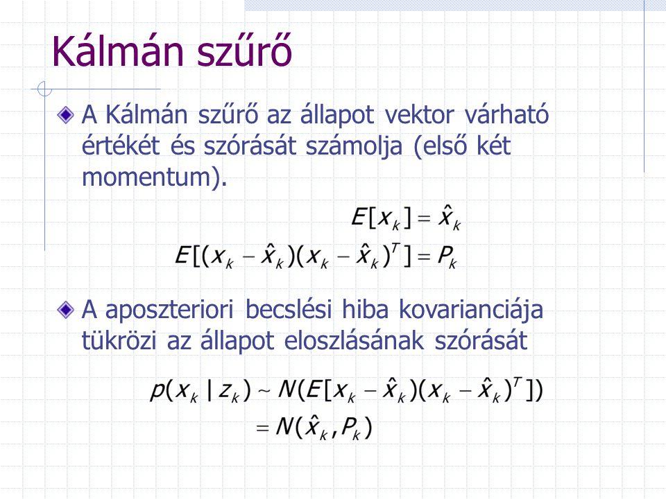 Kálmán szűrő A Kálmán szűrő az állapot vektor várható értékét és szórását számolja (első két momentum).