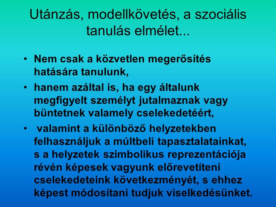 Utánzás, modellkövetés, a szociális tanulás elmélet...