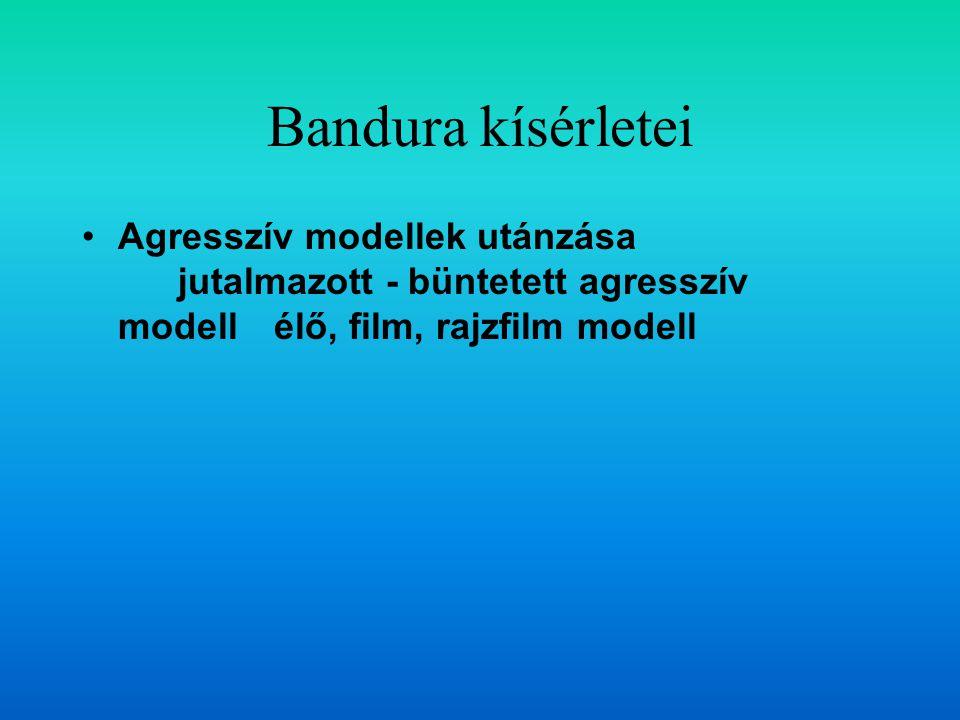 Bandura kísérletei Agresszív modellek utánzása jutalmazott - büntetett agresszív modell élő, film, rajzfilm modell.