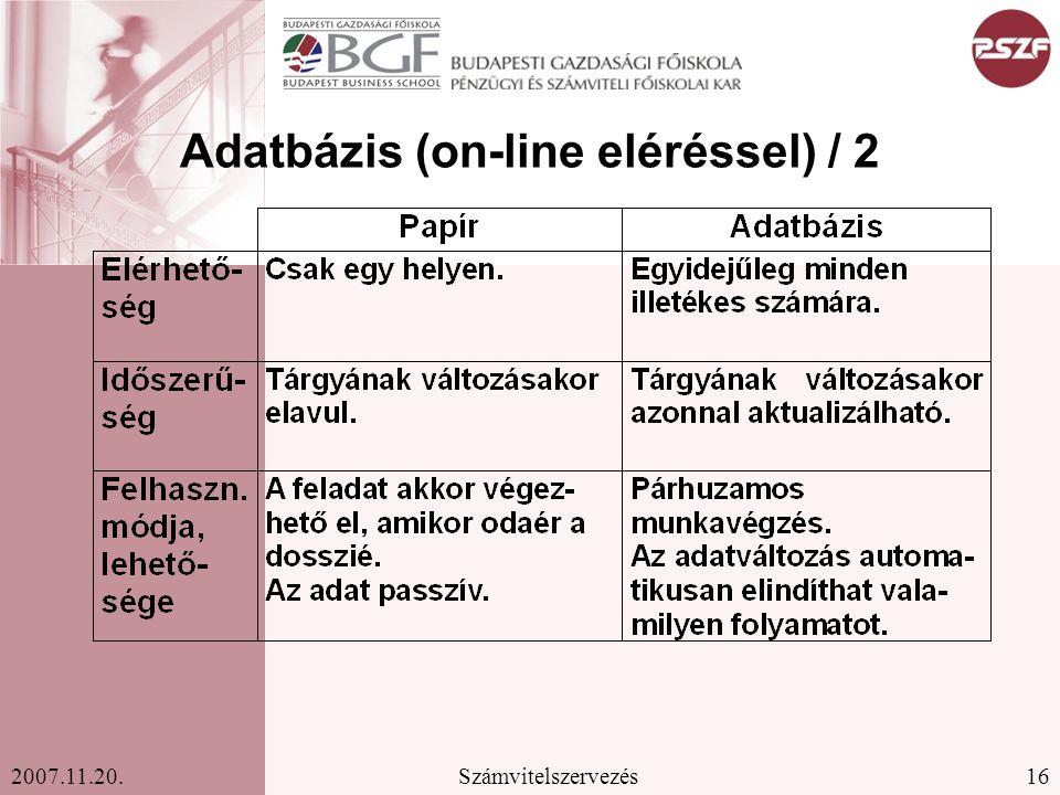 Adatbázis (on-line eléréssel) / 2