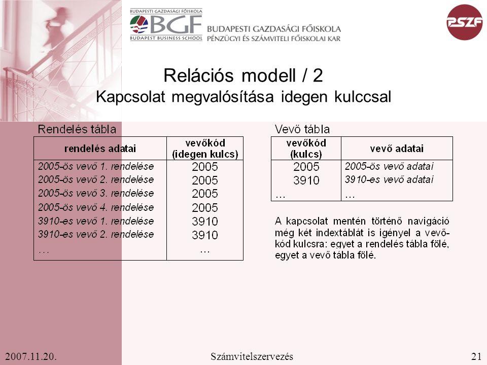 Relációs modell / 2 Kapcsolat megvalósítása idegen kulccsal