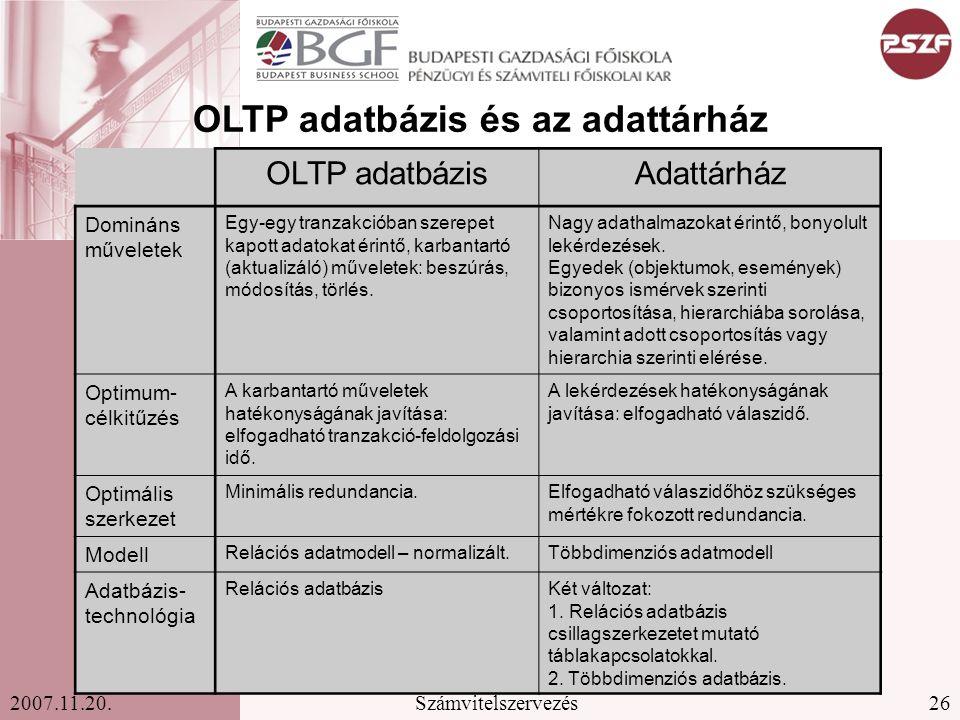 OLTP adatbázis és az adattárház