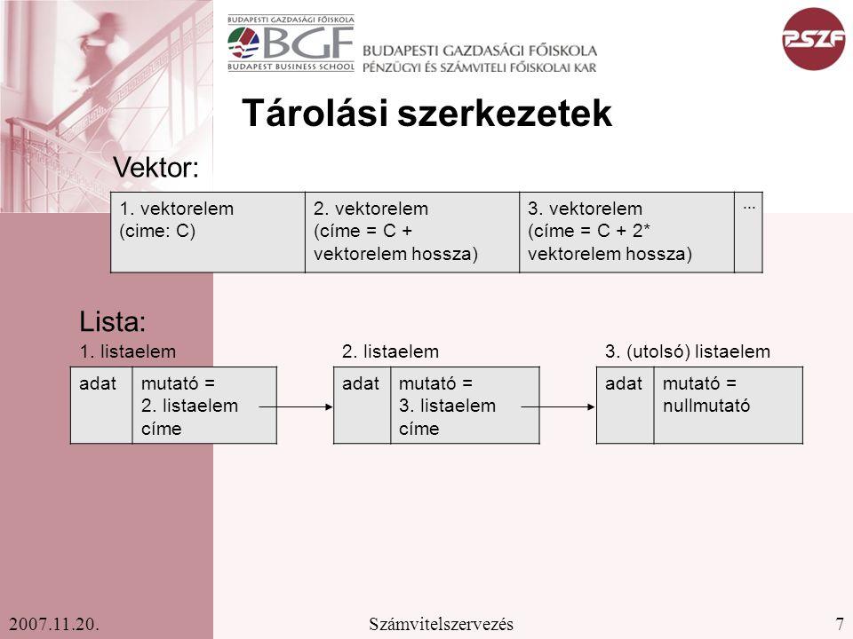 Tárolási szerkezetek Vektor: Lista: 1. vektorelem (cime: C)
