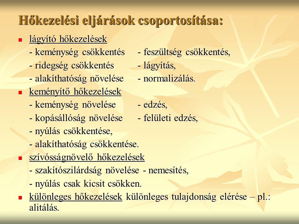 Hőkezelési eljárások csoportosítása: