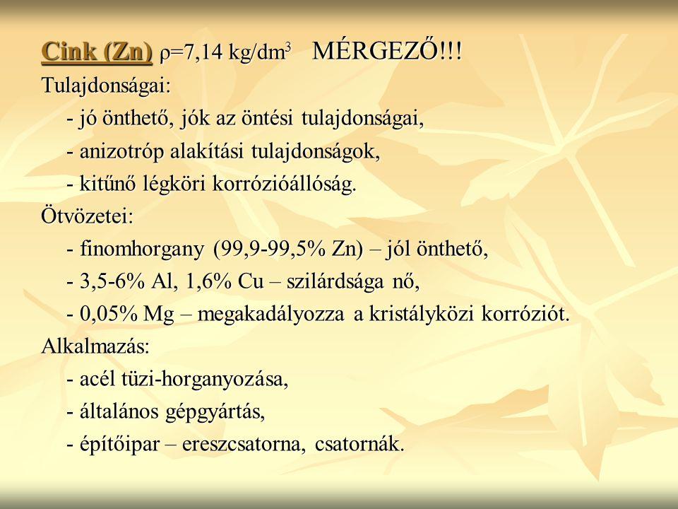 Cink (Zn) ρ=7,14 kg/dm3 MÉRGEZŐ!!!
