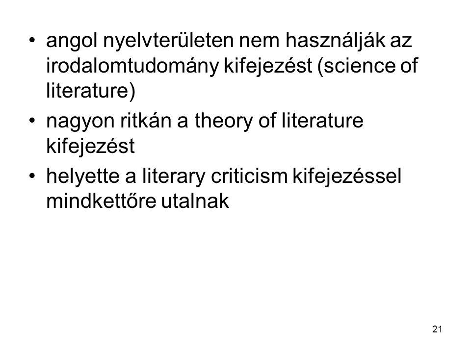 angol nyelvterületen nem használják az irodalomtudomány kifejezést (science of literature)