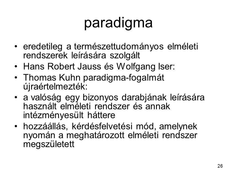 paradigma eredetileg a természettudományos elméleti rendszerek leírására szolgált. Hans Robert Jauss és Wolfgang Iser: