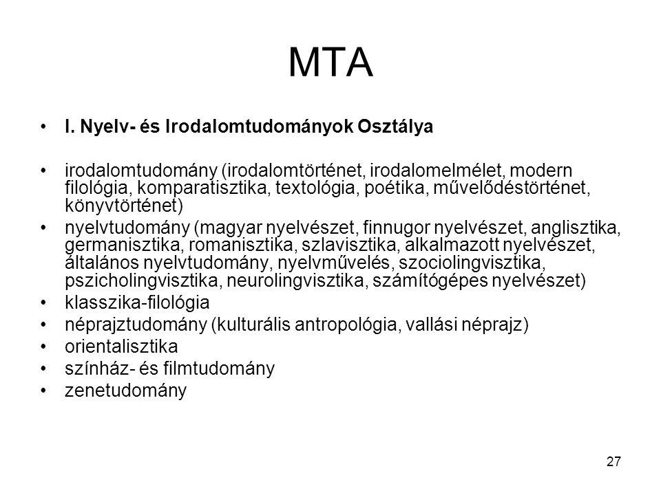 MTA I. Nyelv- és Irodalomtudományok Osztálya