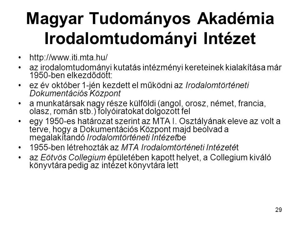 Magyar Tudományos Akadémia Irodalomtudományi Intézet