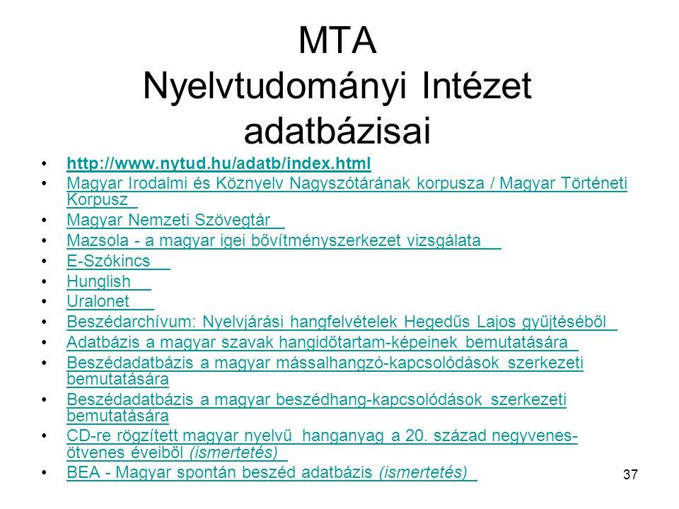 MTA Nyelvtudományi Intézet adatbázisai