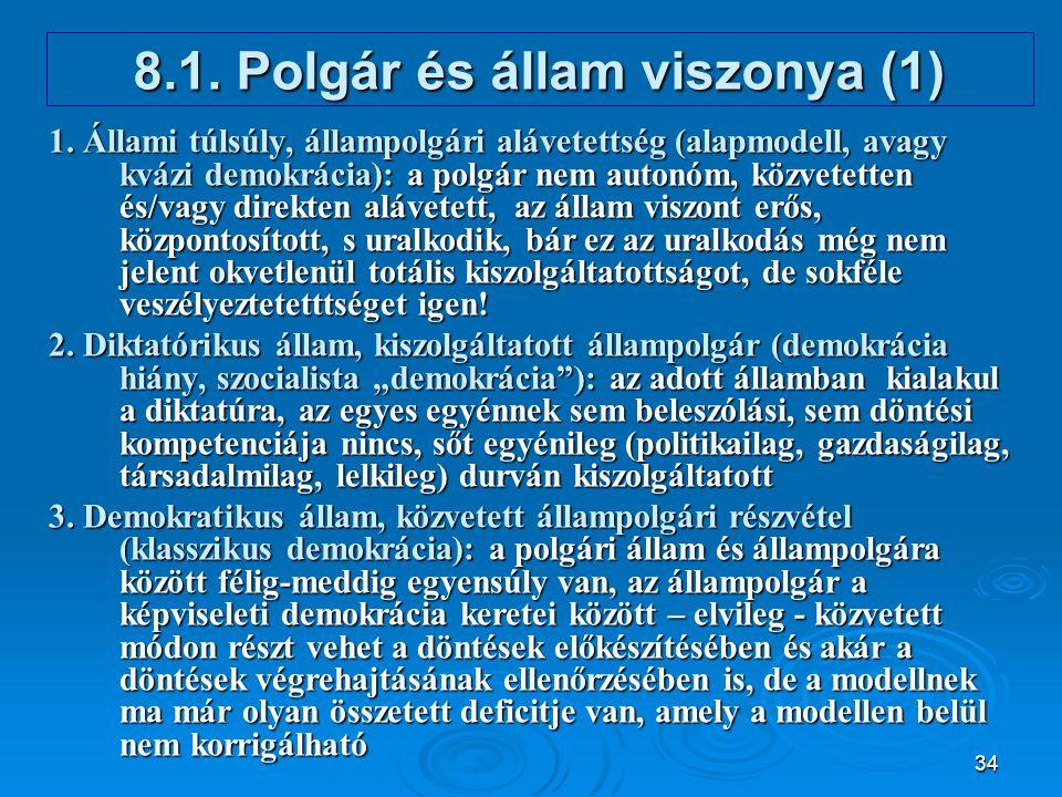 8.1. Polgár és állam viszonya (1)