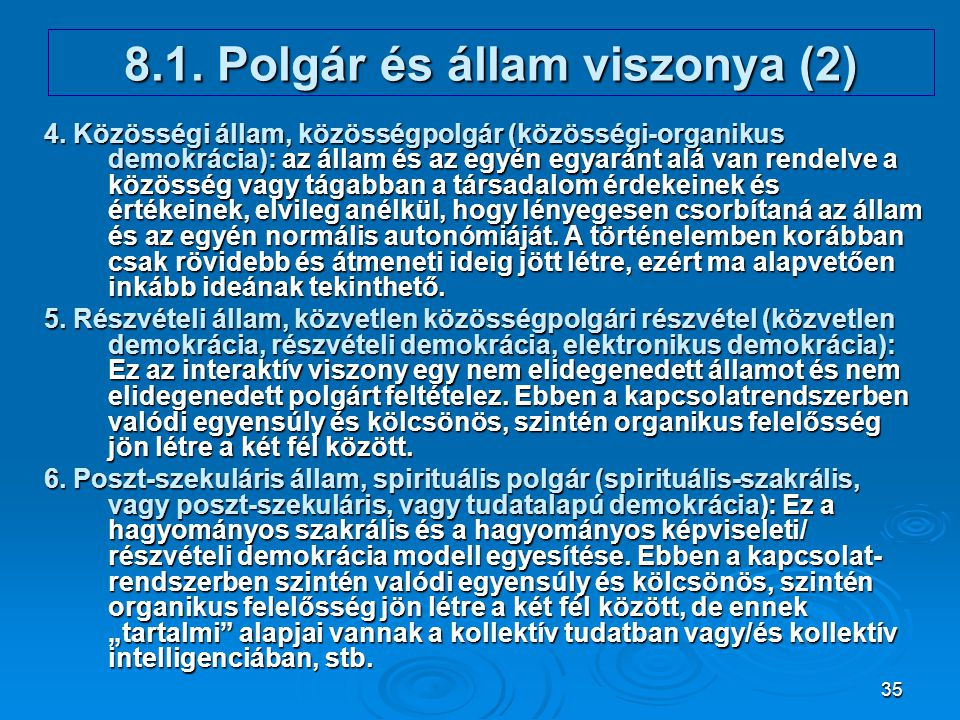8.1. Polgár és állam viszonya (2)