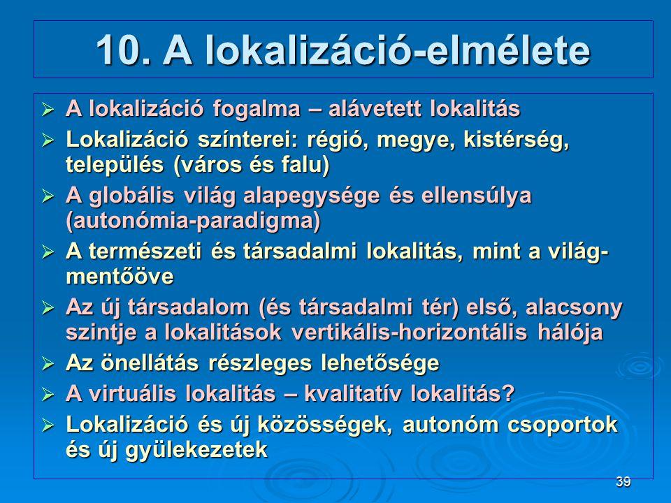 10. A lokalizáció-elmélete