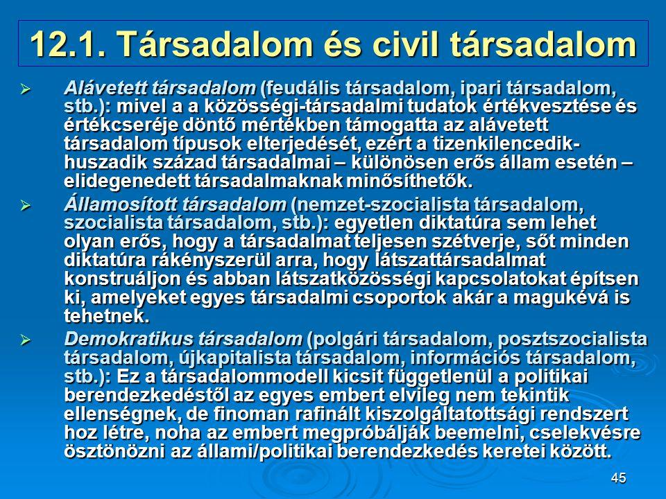 12.1. Társadalom és civil társadalom