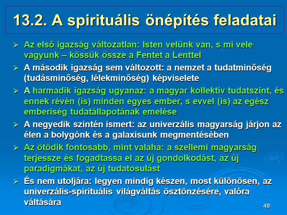13.2. A spirituális önépítés feladatai