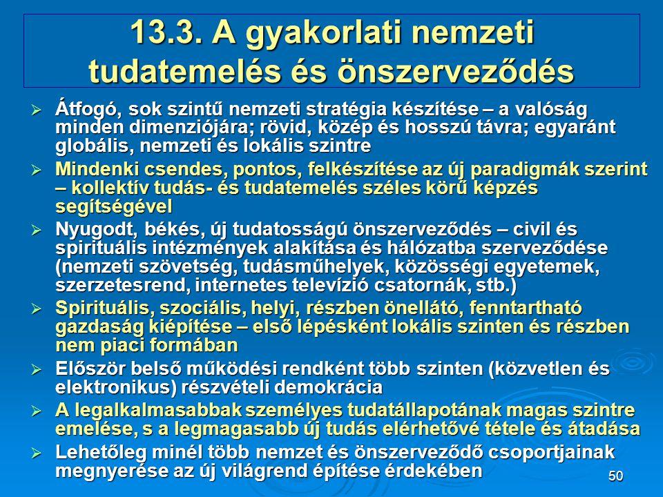 13.3. A gyakorlati nemzeti tudatemelés és önszerveződés