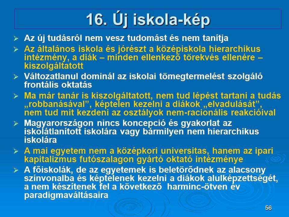 16. Új iskola-kép Az új tudásról nem vesz tudomást és nem tanítja