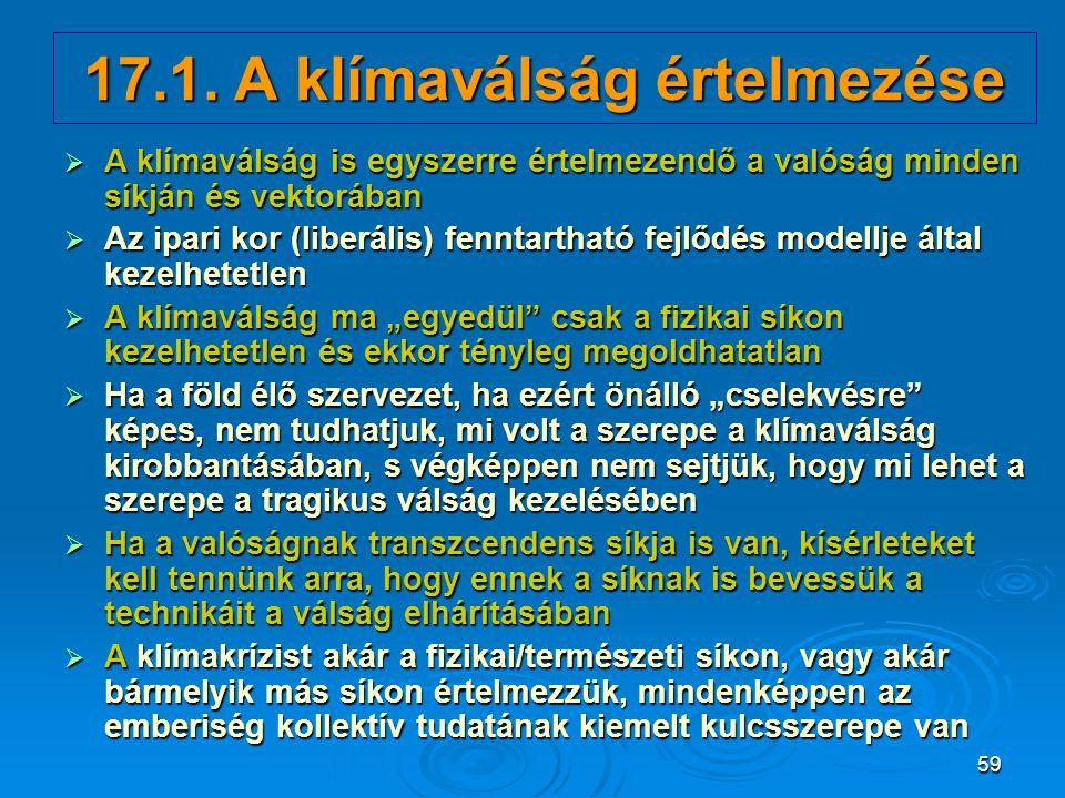 17.1. A klímaválság értelmezése