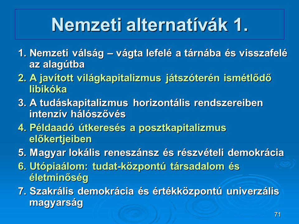 Nemzeti alternatívák 1. 1. Nemzeti válság – vágta lefelé a tárnába és visszafelé az alagútba.