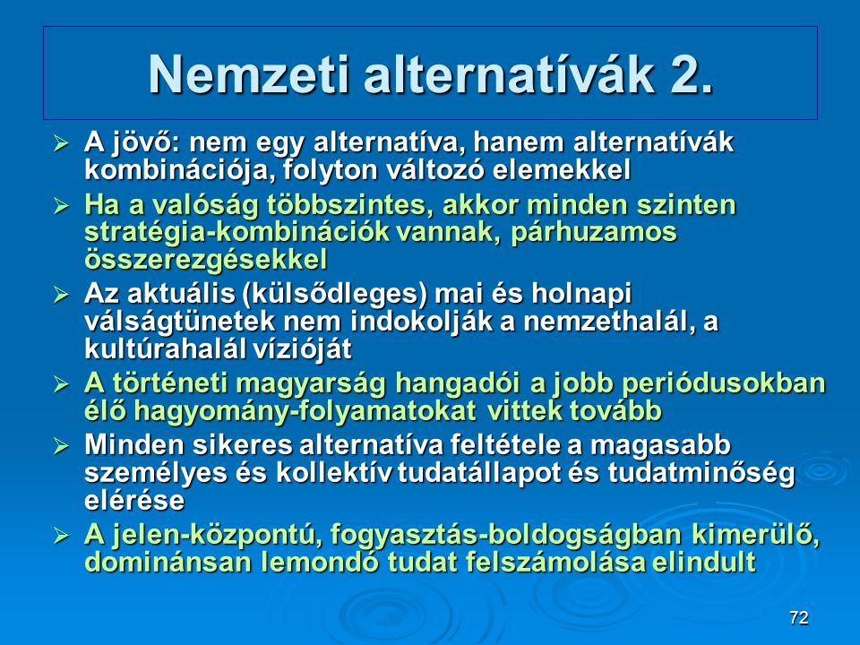 Nemzeti alternatívák 2. A jövő: nem egy alternatíva, hanem alternatívák kombinációja, folyton változó elemekkel.