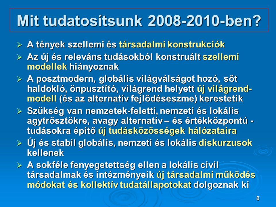 Mit tudatosítsunk 2008-2010-ben