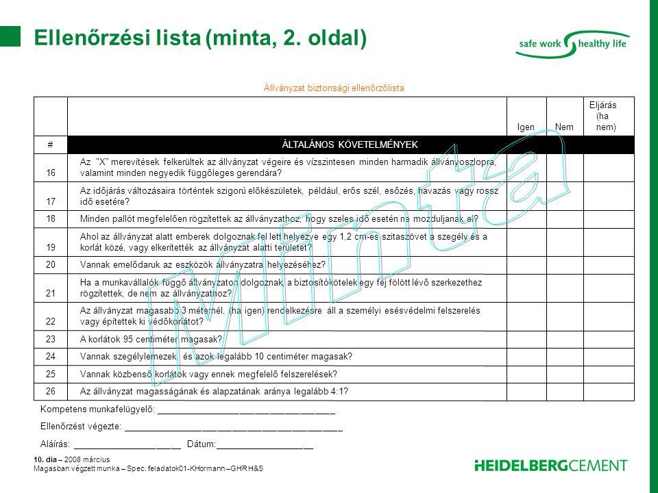Ellenőrzési lista (minta, 2. oldal)