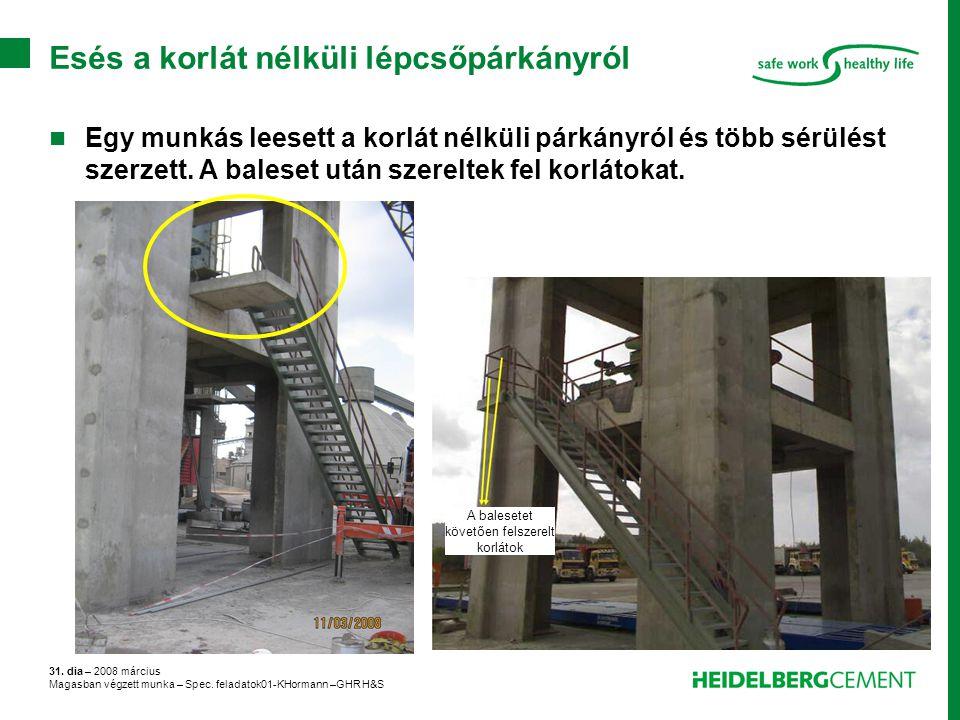 Esés a korlát nélküli lépcsőpárkányról