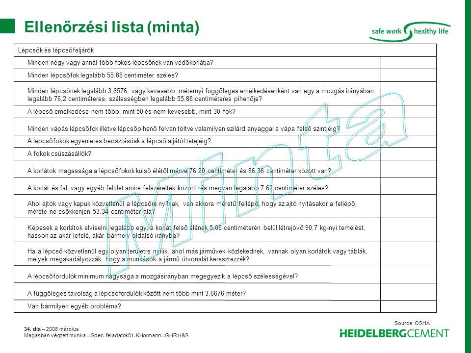 Ellenőrzési lista (minta)