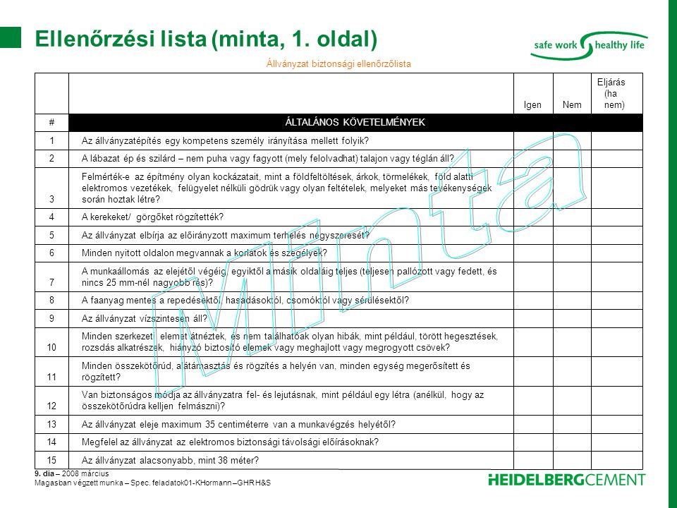 Ellenőrzési lista (minta, 1. oldal)