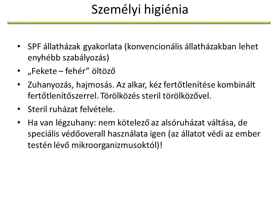 Személyi higiénia SPF állatházak gyakorlata (konvencionális állatházakban lehet enyhébb szabályozás)