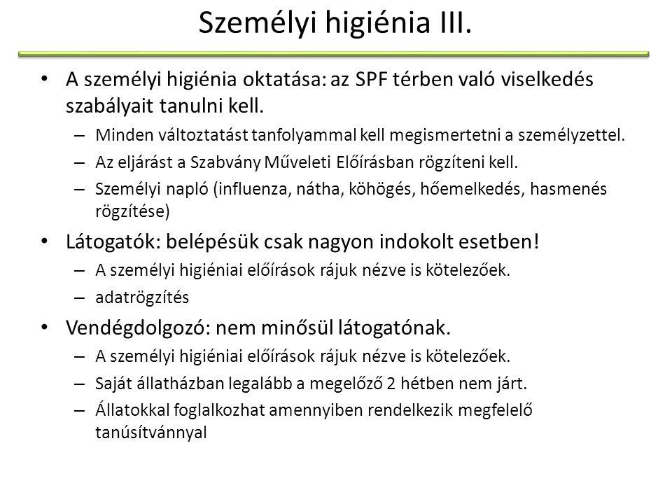 Személyi higiénia III. A személyi higiénia oktatása: az SPF térben való viselkedés szabályait tanulni kell.