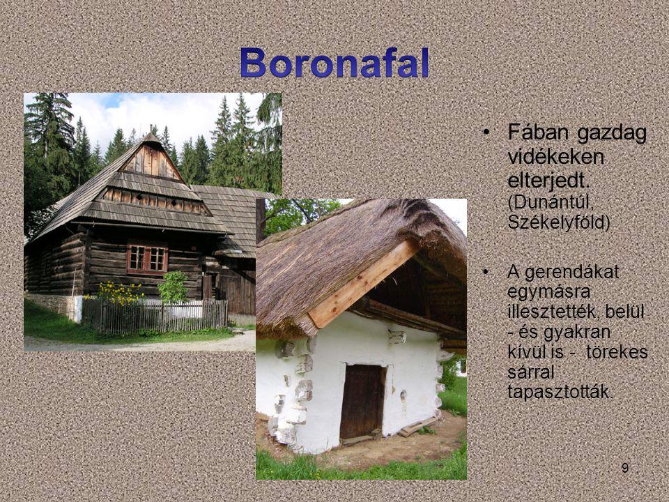 Boronafal Fában gazdag vidékeken elterjedt. (Dunántúl, Székelyföld)