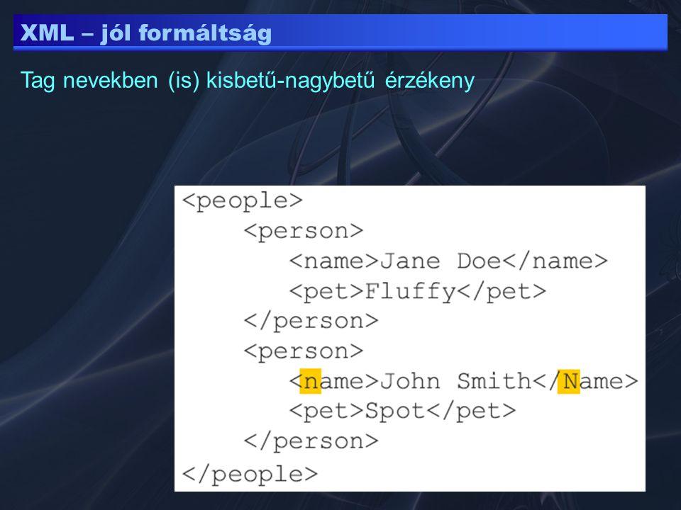 XML – jól formáltság Tag nevekben (is) kisbetű-nagybetű érzékeny