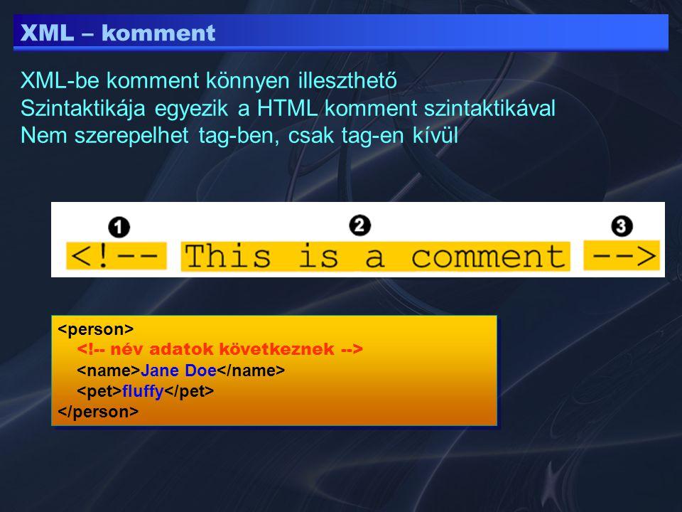 XML-be komment könnyen illeszthető