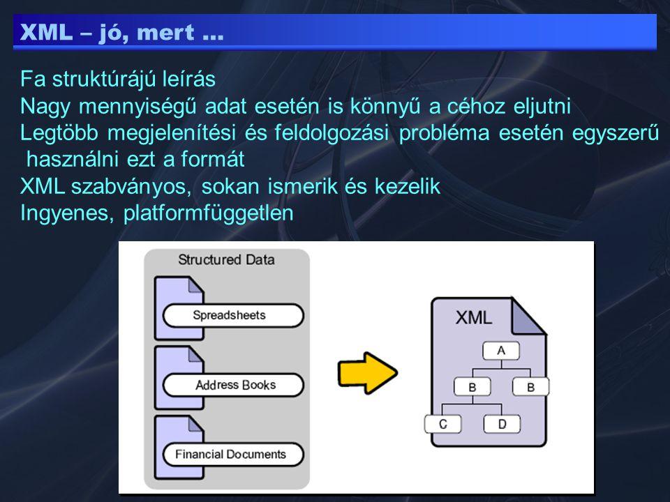 XML – jó, mert … Fa struktúrájú leírás. Nagy mennyiségű adat esetén is könnyű a céhoz eljutni.