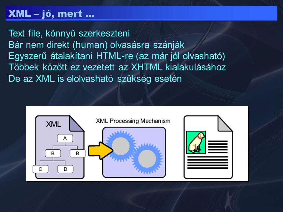 XML – jó, mert … Text file, könnyű szerkeszteni. Bár nem direkt (human) olvasásra szánják. Egyszerű átalakítani HTML-re (az már jól olvasható)
