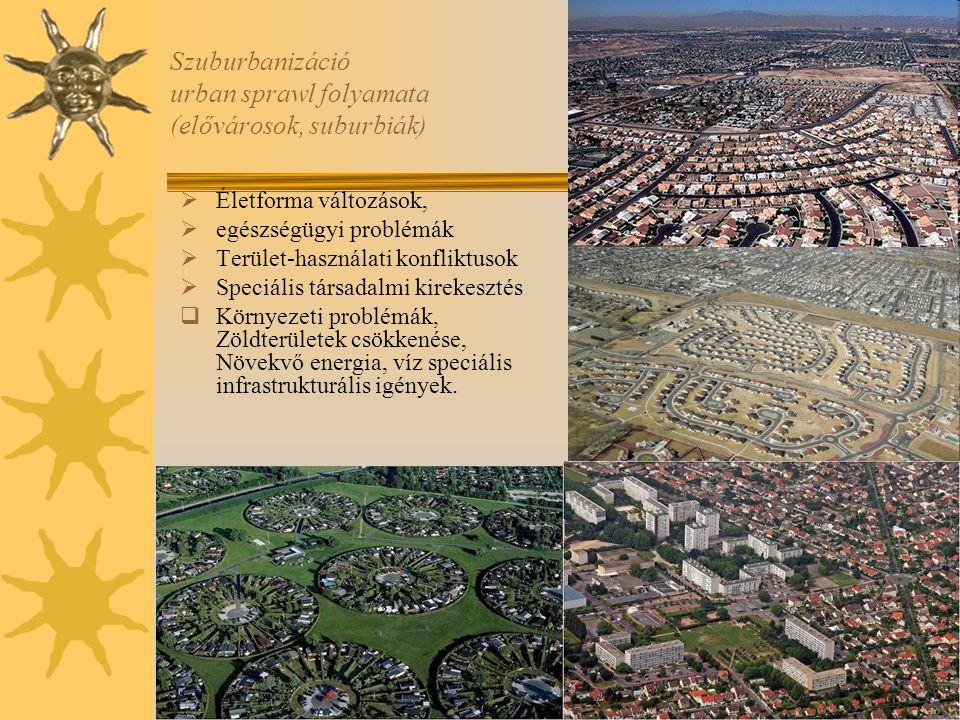 Szuburbanizáció urban sprawl folyamata (elővárosok, suburbiák)