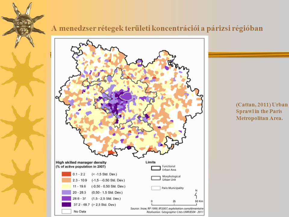 A menedzser rétegek területi koncentrációi a párizsi régióban