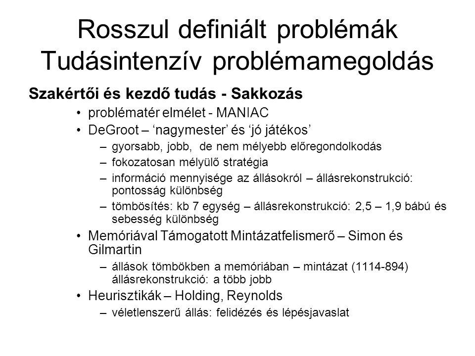 Rosszul definiált problémák Tudásintenzív problémamegoldás